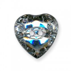 Ακρυλικό Στοιχείο Καρδιά Κουμπί 23mm