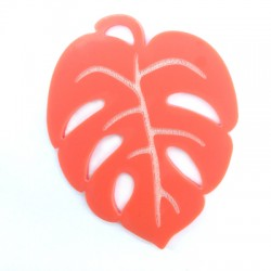 Plexi Acrylic Pendant Exotic Leaf 61x49mm