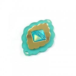 Plexi Acrylic  Pendant With Resin Stone 50x35mm