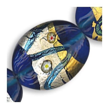 Glass 'Deco' Oval 20x26mm