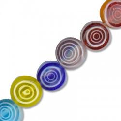 Perlina in Vetro Schiacciata con Cerchi 8mm (~ 49pz/filo)