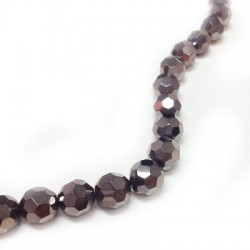 Glass Bead Round Faceted Plated 10mm (~35pcs)