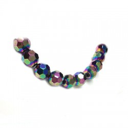 Glass Bead Round Faceted Plated 12mm (~29pcs)