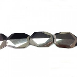 Glass Bead Faceted Irregular Plated 24x34mm