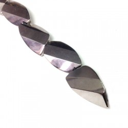 Glass Bead Faceted Irregular Plated 22x39mm
