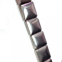 Glass Bead Squared Irregular Plated 20mm