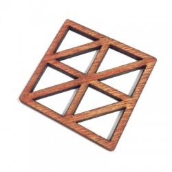 Wooden Pendant Square Grid 45mm
