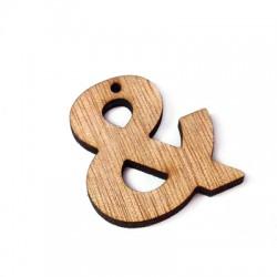 "Wooden Pendant ""&"" 35x33mm"