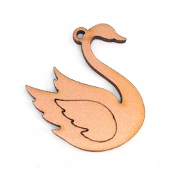 Wooden Pendant Swan 34x40mm