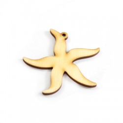 Wooden Pendant Star Fish 61x60mm