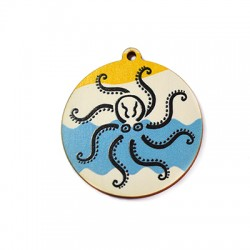 Wooden Pendant Tag Painted Octapus 50mm