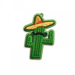 Colgante de Madera Sombrero Mexicano con Tejido 76x55mm
