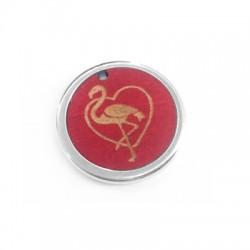 Colgante de Madera Flamingo y Corazón con Marco de Metal Latón 23mm