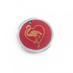 Wooden Pendant Round Flamingo Heart in Metal Frame 22mm
