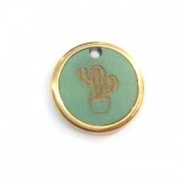 Wooden Pendant Round Cactus in Metal Frame 22mm