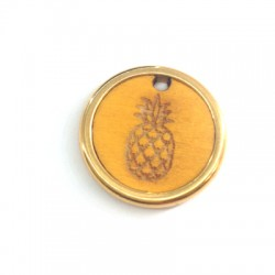 Wooden Pendant Round Pineapple in Metal Frame 22mm