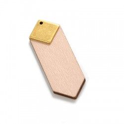 Wooden Pendant 45x15mm With Square Metal Charm
