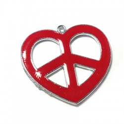 Μεταλλικό Μοτίφ Καρδιά Σήμα της Ειρήνης 32x35mm