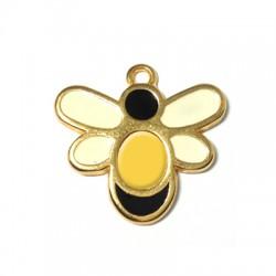 Μεταλλικό Ζάμακ Χυτό Μοτίφ με Σμάλτο Μέλισσα 20x24mm