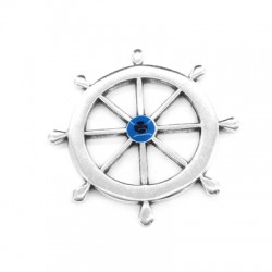 Metal Zamak Cast Pendant Boat Wheel with Enamel Eye 35mm