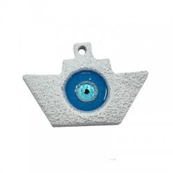 Ciondolo in Ceramica Grezza Barchetta con Occhio Portafortuna Smaltato 71x48mm (Ø 4mm)