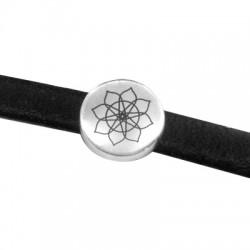 Metal Zamak Cast Slider 9mm with Engraved Mandala Symbol (Ø 2x5mm)