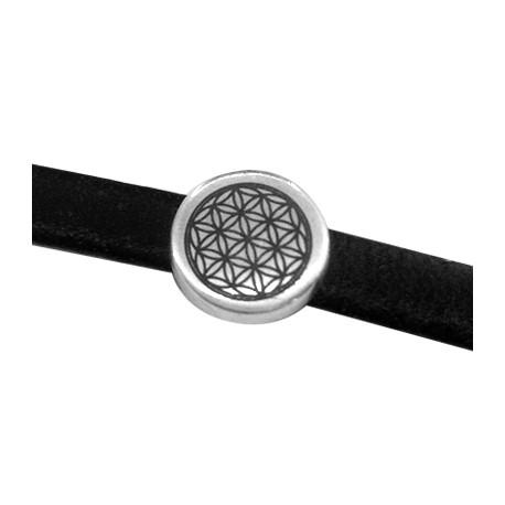 Metal Zamak Cast Slider 9mm with Engraved Flower of Life Symbol (Ø 2x5mm)