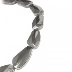 Glass Bead Faceted Irregular Plated 23x44mm