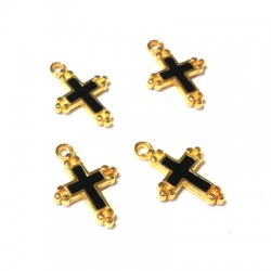 Metal Zamac Cast Charm with Enamel Cross 14x12mm