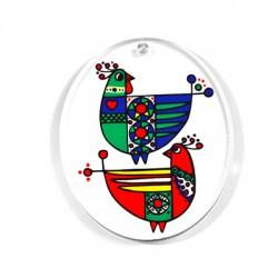 Ciondolo in Plexiacrilico Ovale con Dipinto di Ucelli 60x50mm