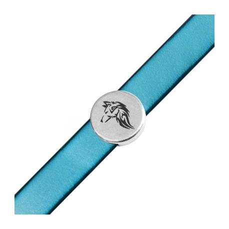 Zamak Round Charm Wolf 18mm (Ø 2,5x5,10mm)