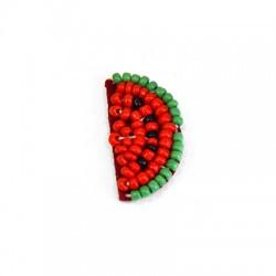 Fabric Hotfix Watermelon w/ Beads ~20x35mm