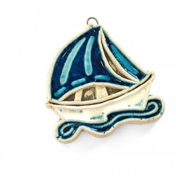 Ceramic Enamelled Pendant Boat 53x54mm