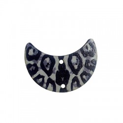 Wooden Pendant Half Moon Animal Print 35x25mm