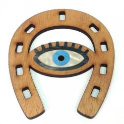 Wooden and Plexi Acrylic Pendant Horseshoe with Eye 71x76mm