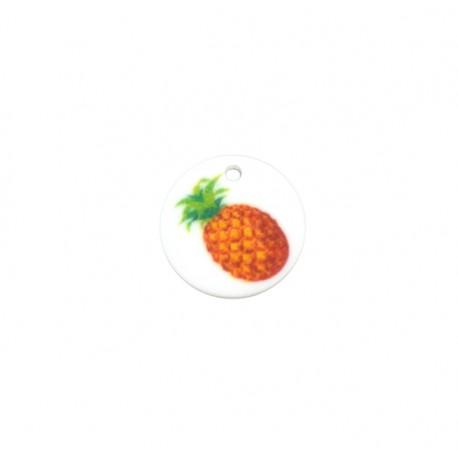 Plexi Acrylic Charm Round Pinapple 20mm
