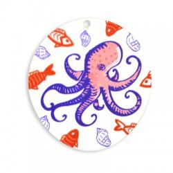 Plexi Acrylic Pendant Oval Octopus 51x55mm