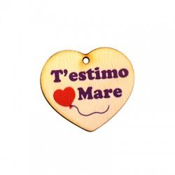 """Ξύλινο Μοτίφ Καρδιά """"T'estimo Mare"""" 35x39mm"""