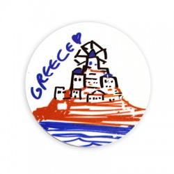 "Plexi Acrylic Magnet Round Island ""GREECE"" 55mm"