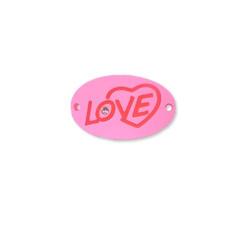 """Πλέξι Ακρυλικό Στοιχείο Οβάλ """"Love"""" για Μακραμέ 34x22mm"""