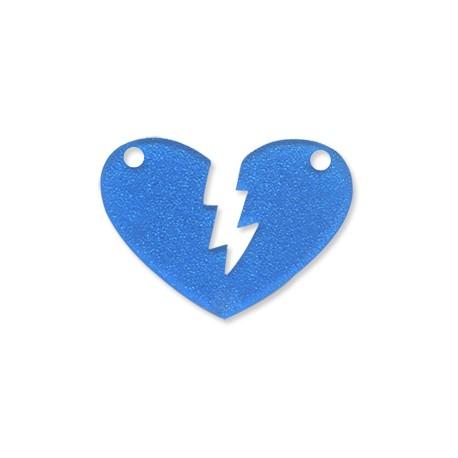 Plexiacrylic Glitter Broken Heart 4.2x3.1cm