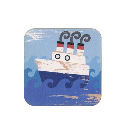 Wooden Beer Mat Square Ship 80mm