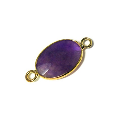 Brass Oval Setting 13x18mm With Amethyst Stone