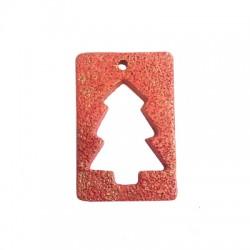 Ceramic Lucky Pendant Rectangular w/ Tree 49x74mm (Ø4.5mm)