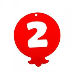 Plexi Acrylic Lucky Pendant Pomegranate '2' 55x65mm