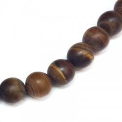 Ημιπολύτιμη Πέτρα Μάτι Τίγρης Χάντρα (~10mm)(~38τμχ/κορδόνι)