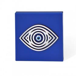 Decorazione in Legno e Pleciacrilico Quadrato con Occhio Portafortuna 100mm