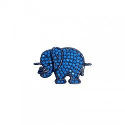 Ορειχάλκινο Στοιχείο Ελέφαντας με Ζιργκόν για Μακραμέ 15x13mm