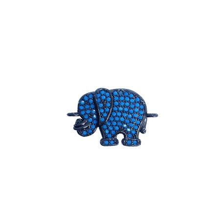 Brass Connector Elephant 15x13mm with Zircon