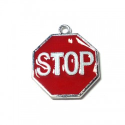Metal Zamak Cast Charm Stop Sign with Enamel 21x24mm